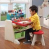 FLIP & DOODLE EASEL DESK WITH STOOL - TEAL & LIM