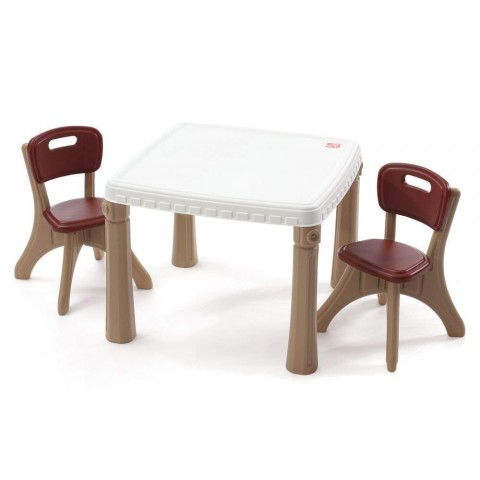 Step2 Lifestyle Kitchen Plastic Table and Chairs Set for Kids - Tan