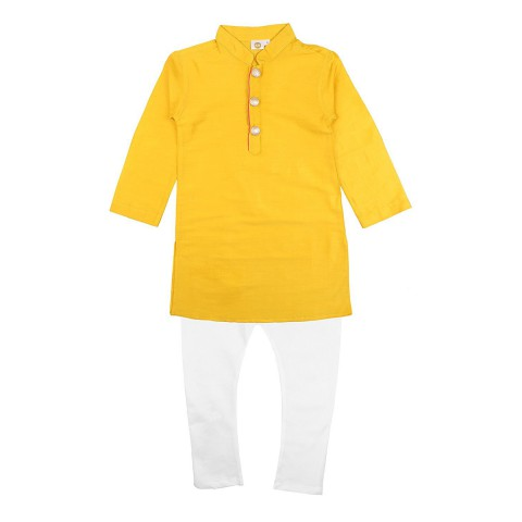 K&U Boys' Regular Fit Silk Kurta Pyjama - Yellow