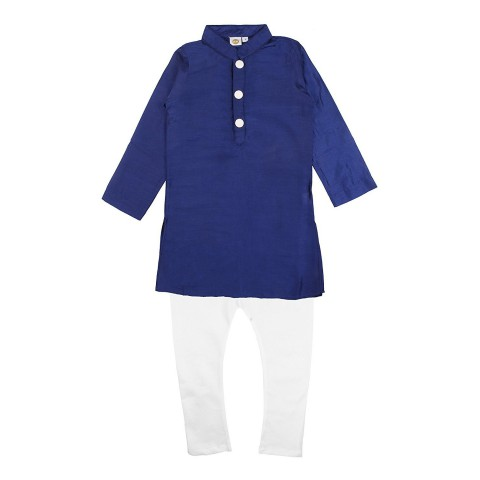 K&U Boys' Regular Fit Silk Kurta Pyjama -  Navy Blue