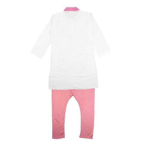K&U Boys' Regular Fit Silk Kurta Pyjama  - Off White, Peach