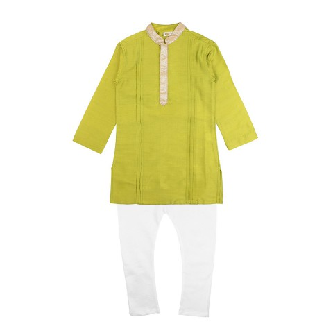 K&U Boys' Regular Fit Silk Kurta Pyjama - Green, Grey