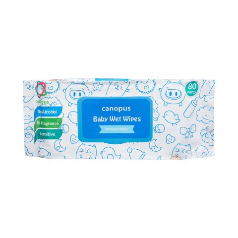Canopus Premium Baby Wet Wipes Natural, Big Size Wipes (80 pcs) (Pack of 1)