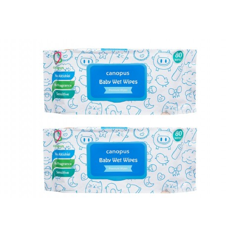 Canopus Premium Baby Wet Wipes Natural, Big Size Wipes (80 pcs) (Pack of 2)