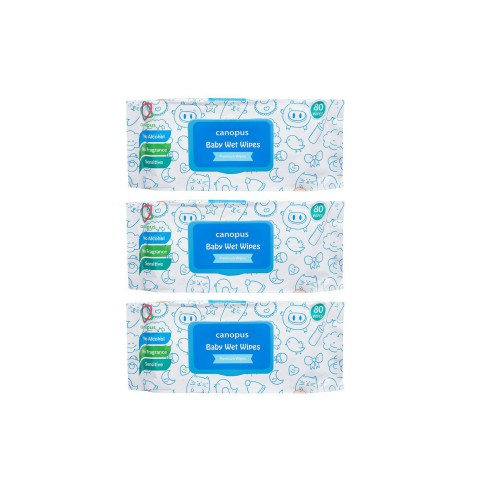 Canopus Premium Baby Wet Wipes Natural, Big Size Wipes (20 pcs) (Pack of 3)