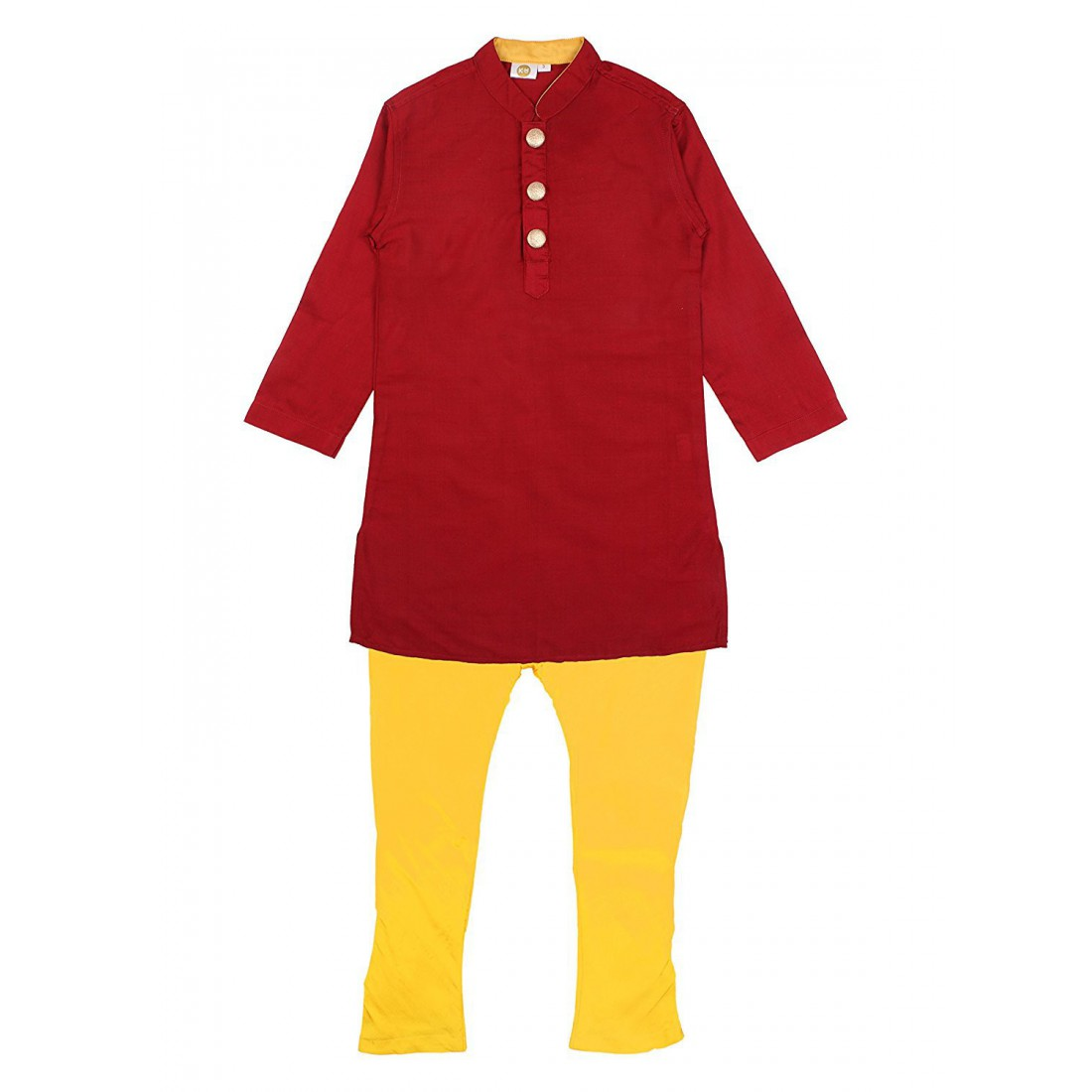 K&U Boys' Regular Fit Silk Kurta Pyjama - Maroon, Gold