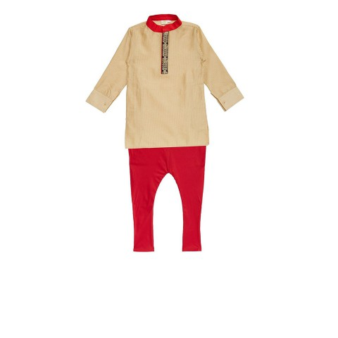 K&U Boys' Regular Fit Silk Kurta Pyjama - Gold, Red